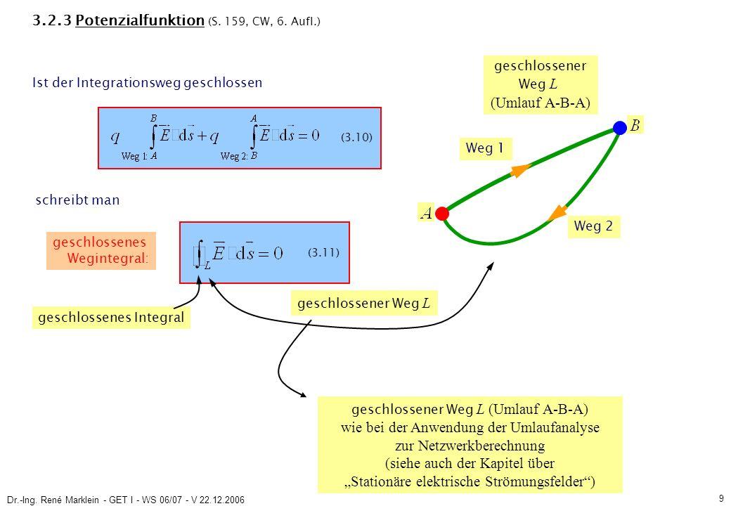 Dr.-Ing.René Marklein - GET I - WS 06/07 - V 22.12.2006 10 (3.11) 3.2.3 Potenzialfunktion (S.