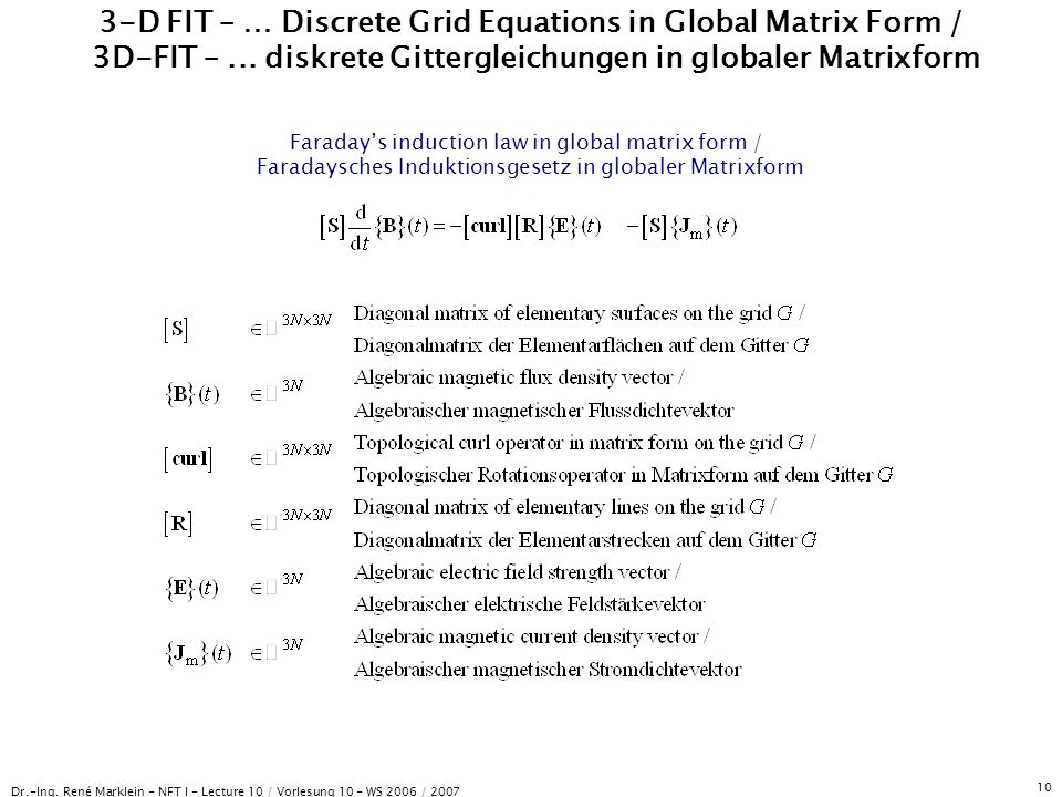Dr.-Ing. René Marklein - NFT I - Lecture 10 / Vorlesung 10 - WS 2006 / 2007 10 3-D FIT – … Discrete Grid Equations in Global Matrix Form / 3D-FIT –...