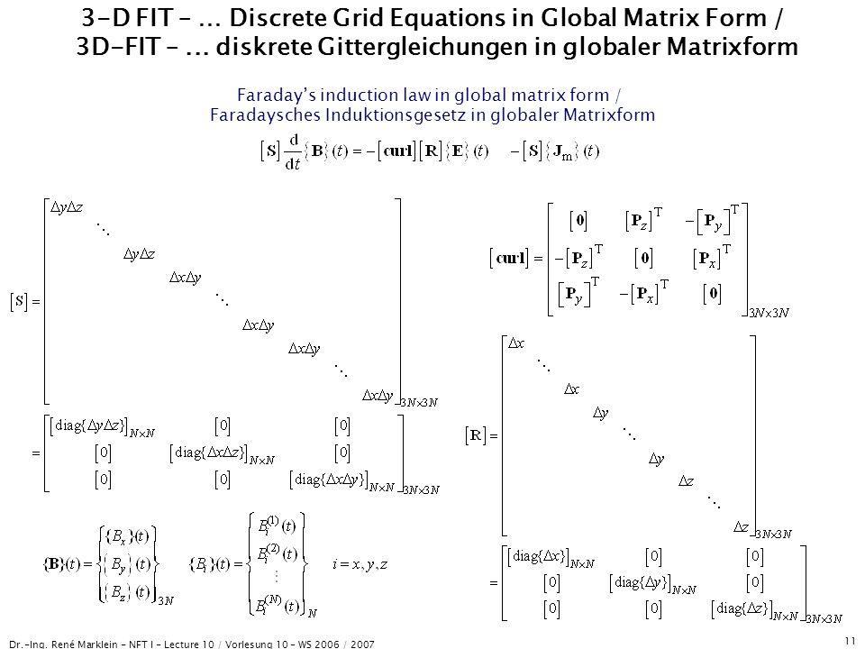 Dr.-Ing. René Marklein - NFT I - Lecture 10 / Vorlesung 10 - WS 2006 / 2007 11 3-D FIT – … Discrete Grid Equations in Global Matrix Form / 3D-FIT –...