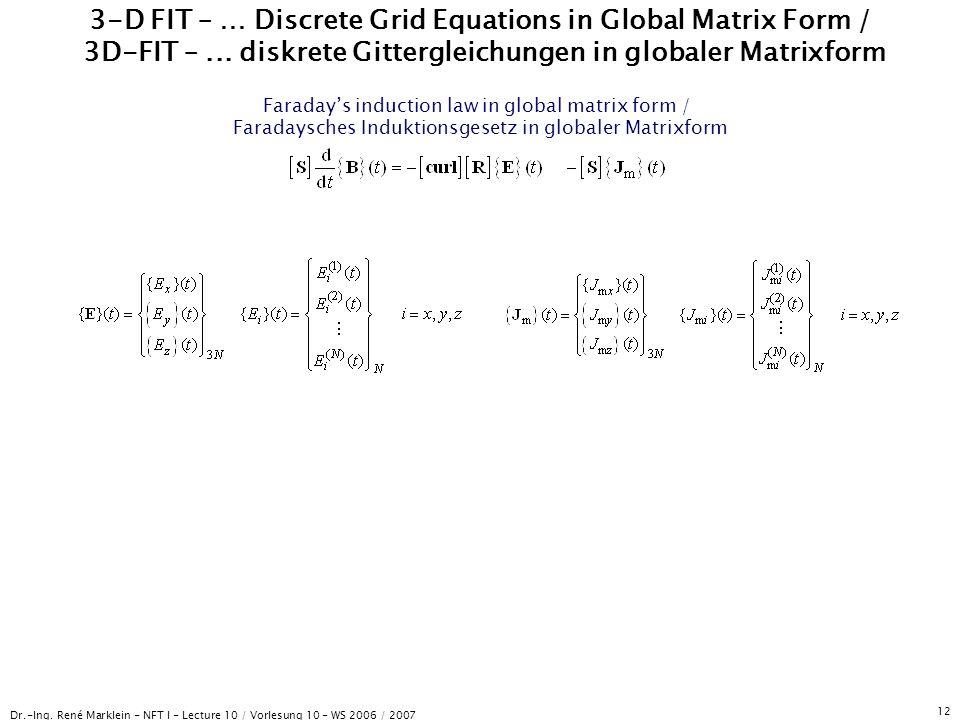 Dr.-Ing. René Marklein - NFT I - Lecture 10 / Vorlesung 10 - WS 2006 / 2007 12 3-D FIT – … Discrete Grid Equations in Global Matrix Form / 3D-FIT –...