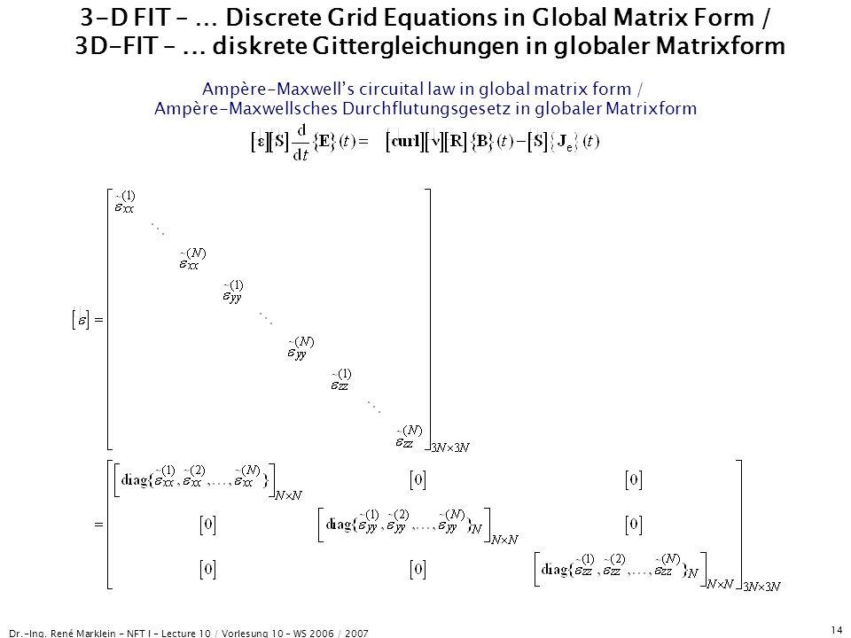 Dr.-Ing. René Marklein - NFT I - Lecture 10 / Vorlesung 10 - WS 2006 / 2007 14 3-D FIT – … Discrete Grid Equations in Global Matrix Form / 3D-FIT –...