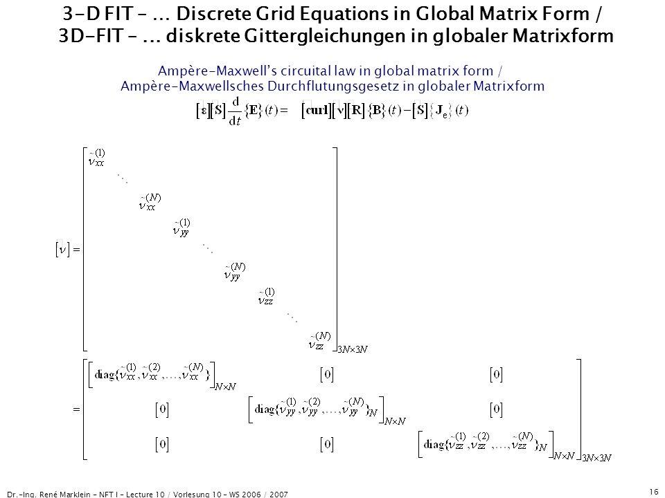 Dr.-Ing. René Marklein - NFT I - Lecture 10 / Vorlesung 10 - WS 2006 / 2007 16 3-D FIT – … Discrete Grid Equations in Global Matrix Form / 3D-FIT –...