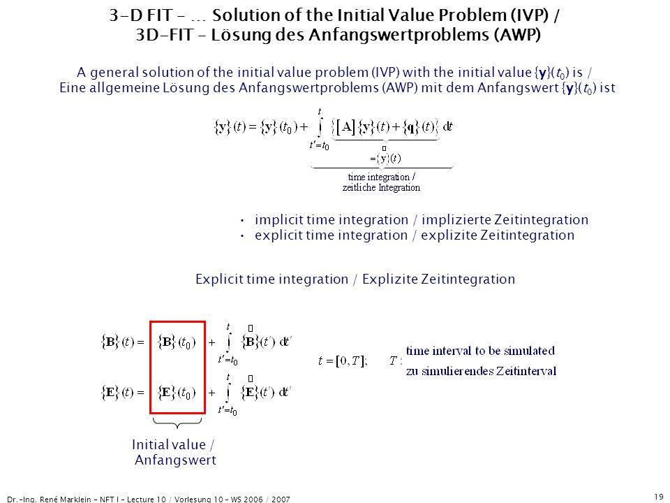 Dr.-Ing. René Marklein - NFT I - Lecture 10 / Vorlesung 10 - WS 2006 / 2007 19 3-D FIT – … Solution of the Initial Value Problem (IVP) / 3D-FIT – Lösu