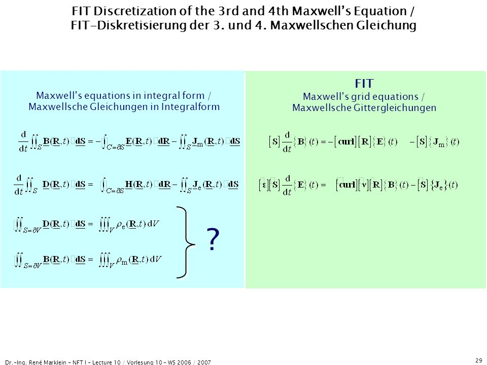 Dr.-Ing. René Marklein - NFT I - Lecture 10 / Vorlesung 10 - WS 2006 / 2007 29 FIT Discretization of the 3rd and 4th Maxwells Equation / FIT-Diskretis