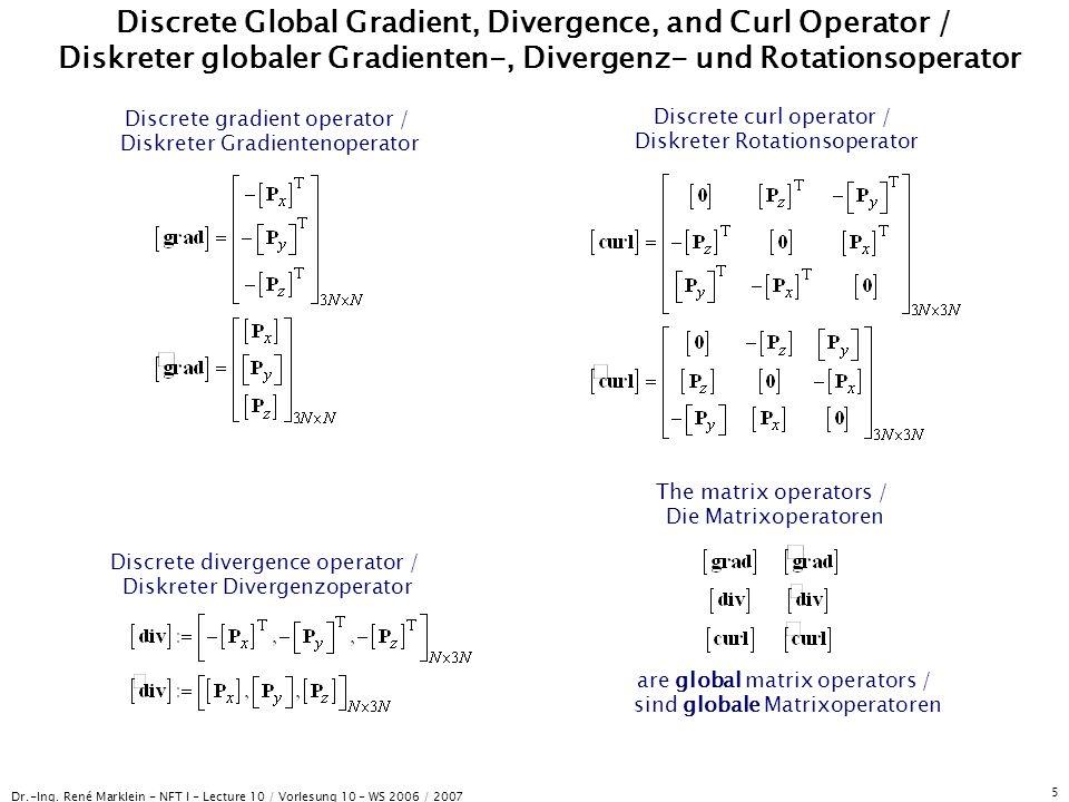 Dr.-Ing. René Marklein - NFT I - Lecture 10 / Vorlesung 10 - WS 2006 / 2007 5 Discrete Global Gradient, Divergence, and Curl Operator / Diskreter glob