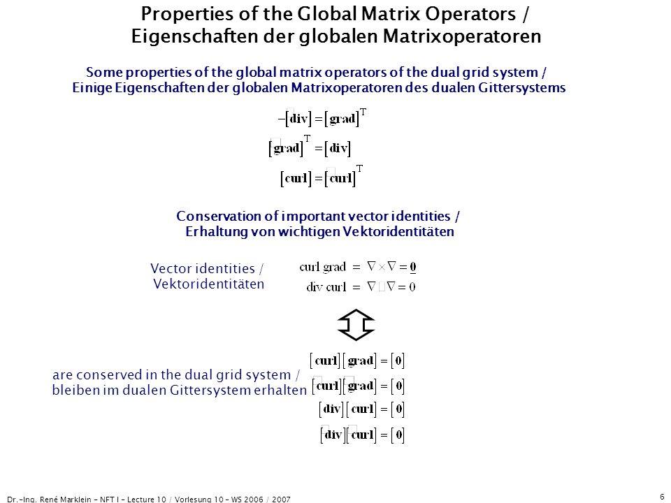 Dr.-Ing. René Marklein - NFT I - Lecture 10 / Vorlesung 10 - WS 2006 / 2007 6 Properties of the Global Matrix Operators / Eigenschaften der globalen M