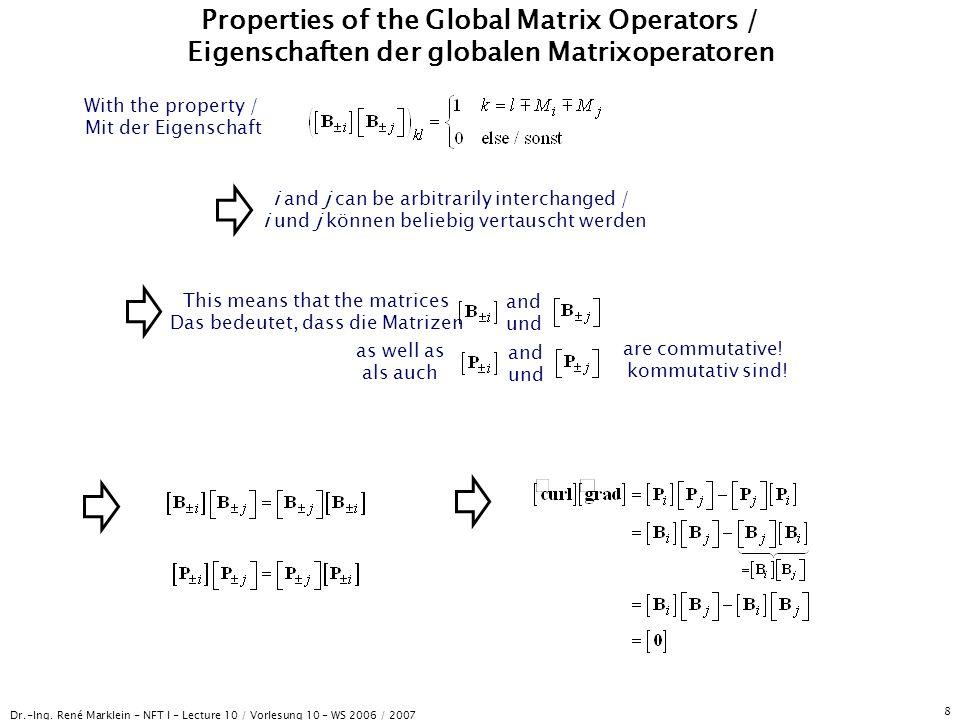 Dr.-Ing. René Marklein - NFT I - Lecture 10 / Vorlesung 10 - WS 2006 / 2007 8 Properties of the Global Matrix Operators / Eigenschaften der globalen M