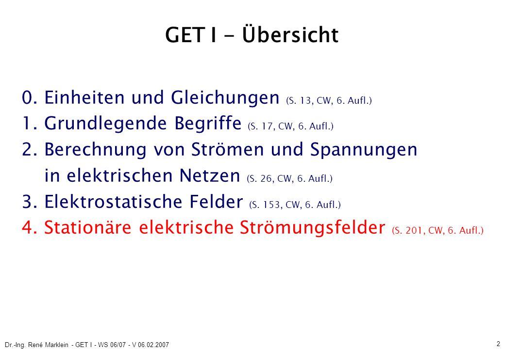 Dr.-Ing. René Marklein - GET I - WS 06/07 - V 06.02.2007 2 GET I - Übersicht 0.