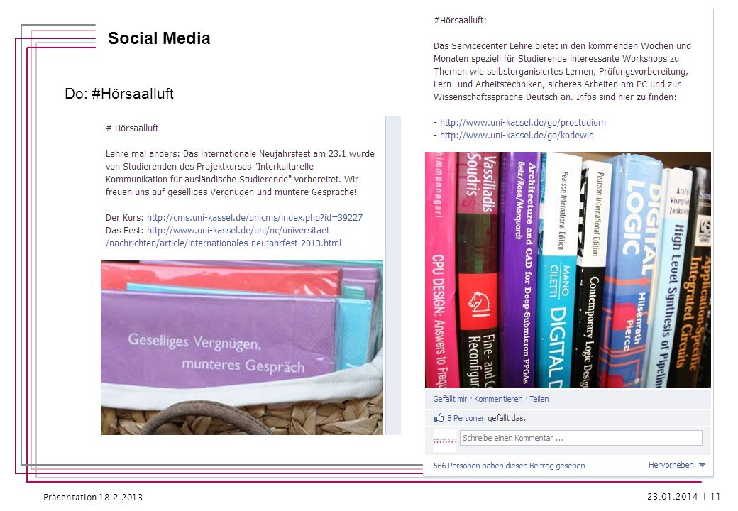 Präsentation 18.2.2013 Social Media Fr: #Rückspiegel No 23.01.2014 | 12