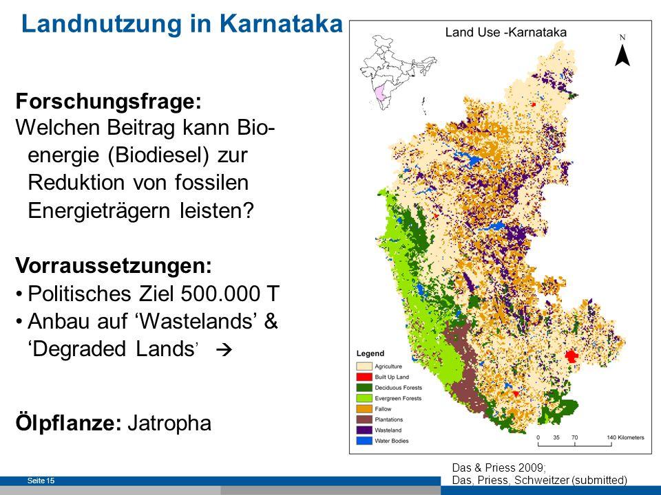 Seite 16 Landnutzung in Karnataka Potentielle Landnutzungskonflikte: Gesellschaft: Nahrungsmittel- vs.