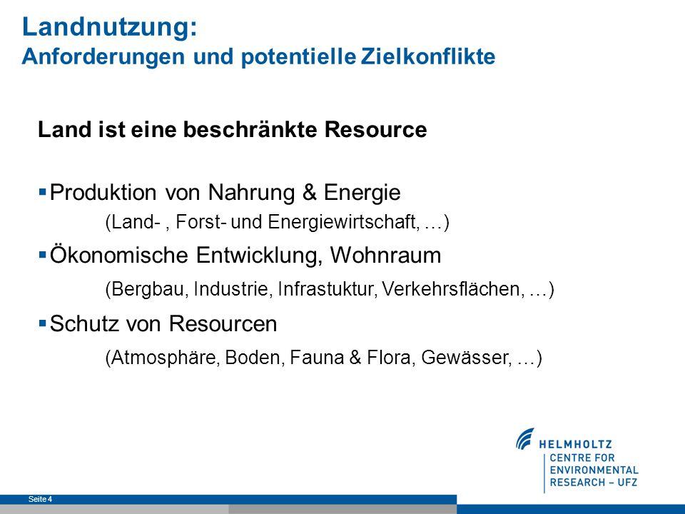 Seite 5 Landnutzung: Anforderungen und potentielle Zielkonflikte Resourcen- schutz Urbane Nutzung Produktion & Entwicklung