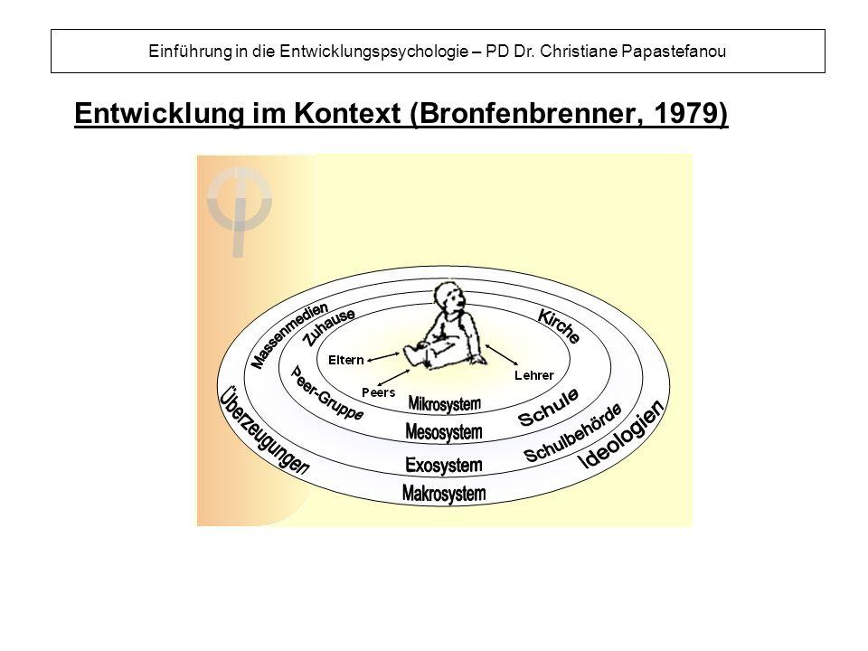 Entwicklung im Kontext (Bronfenbrenner, 1979) Einführung in die Entwicklungspsychologie – PD Dr. Christiane Papastefanou