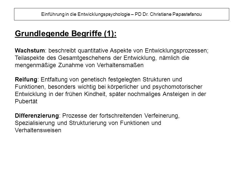 Grundlegende Begriffe (2): Einführung in die Entwicklungspsychologie – PD Dr.