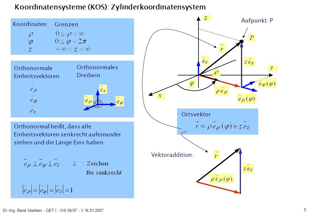 Dr.-Ing. René Marklein - GET I - WS 06/07 - V 16.01.2007 5 Koordinatensysteme (KOS): Zylinderkoordinatensystem Orthonormale Einheitsvektoren Koordinat