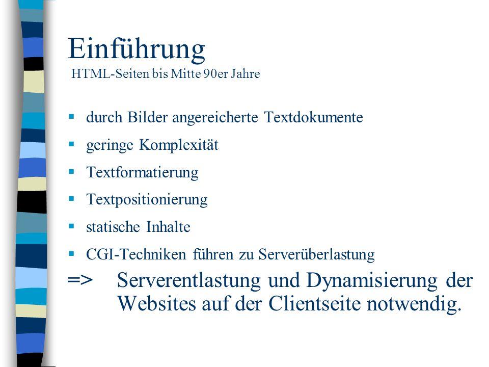 Einführung HTML-Seiten bis Mitte 90er Jahre durch Bilder angereicherte Textdokumente geringe Komplexität Textformatierung Textpositionierung statische