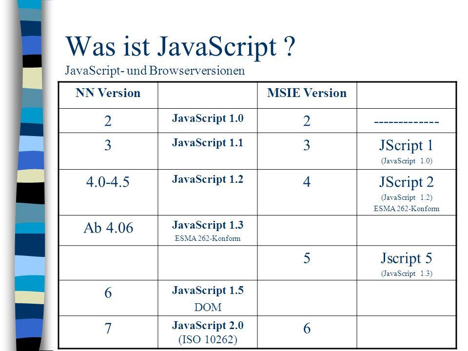 Was ist JavaScript ? JavaScript- und Browserversionen NN VersionMSIE Version 2 JavaScript 1.0 2------------- 3 JavaScript 1.1 3JScript 1 (JavaScript 1