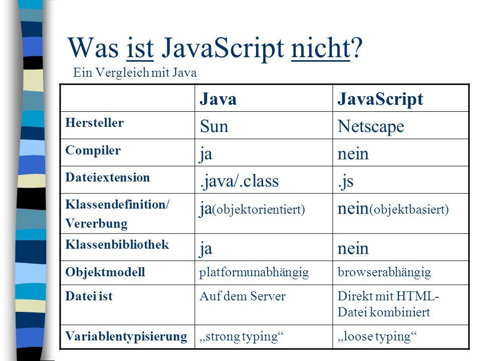 Was ist JavaScript nicht? Ein Vergleich mit Java JavaJavaScript Hersteller SunNetscape Compiler janein Dateiextension.java/.class.js Klassendefinition