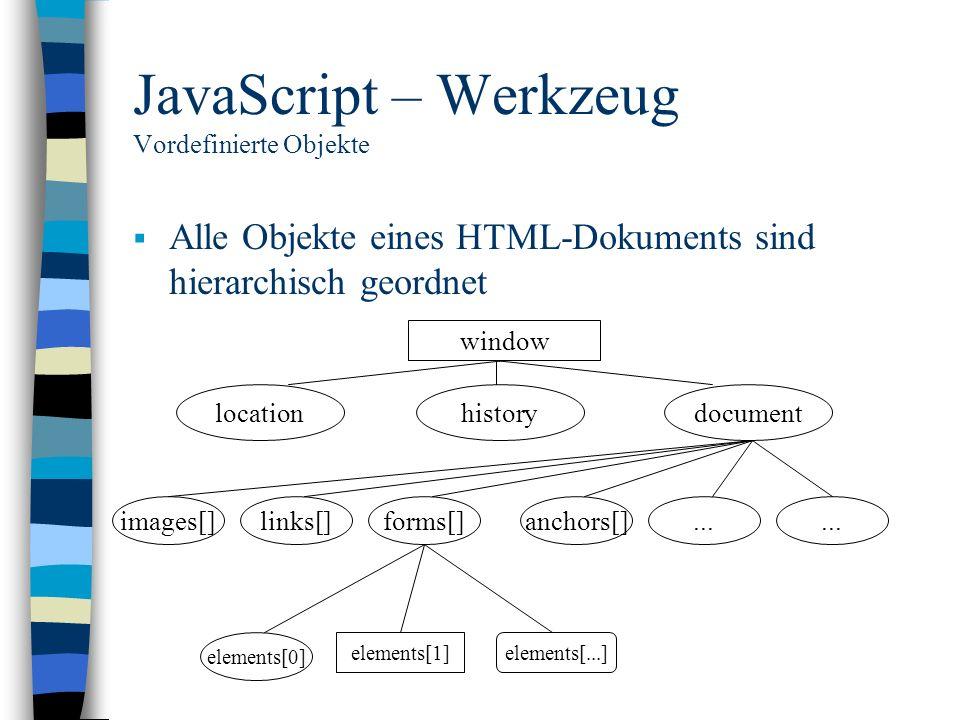 JavaScript – Werkzeug Vordefinierte Objekte Alle Objekte eines HTML-Dokuments sind hierarchisch geordnet window locationhistorydocument images[]links[