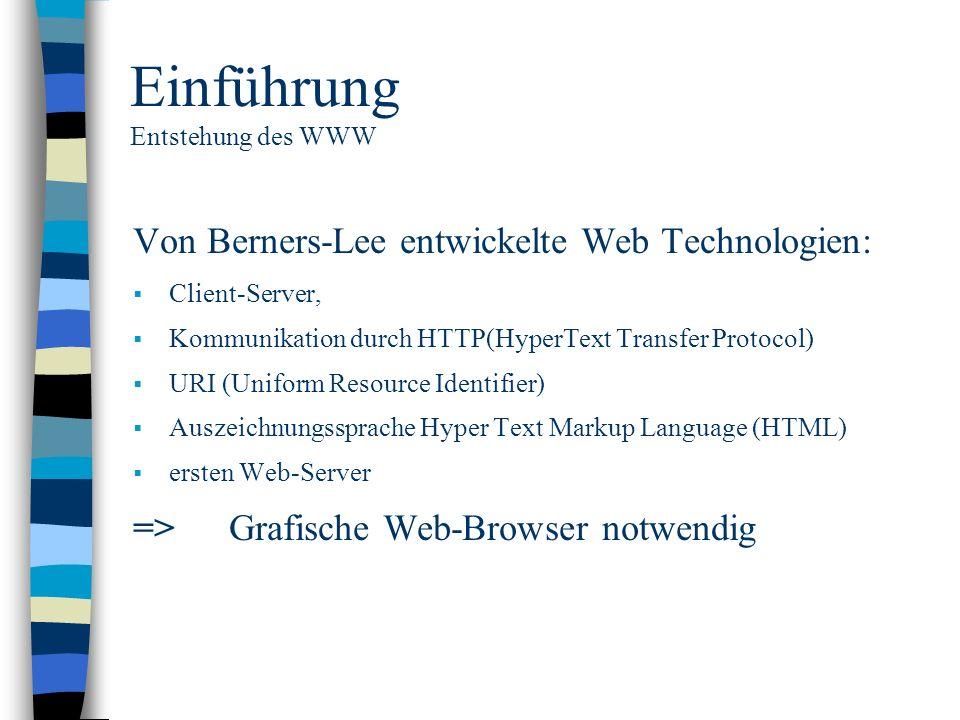 Einführung Entstehung des WWW Von Berners-Lee entwickelte Web Technologien: Client-Server, Kommunikation durch HTTP(HyperText Transfer Protocol) URI (