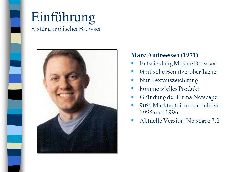 Einführung Erster graphischer Browser Marc Andreessen (1971) Entwicklung Mosaic Browser Grafische Benutzeroberfläche Nur Textauszeichnung kommerzielle