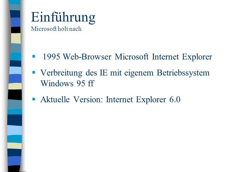 Einführung Microsoft holt nach 1995 Web-Browser Microsoft Internet Explorer Verbreitung des IE mit eigenem Betriebssystem Windows 95 ff Aktuelle Versi