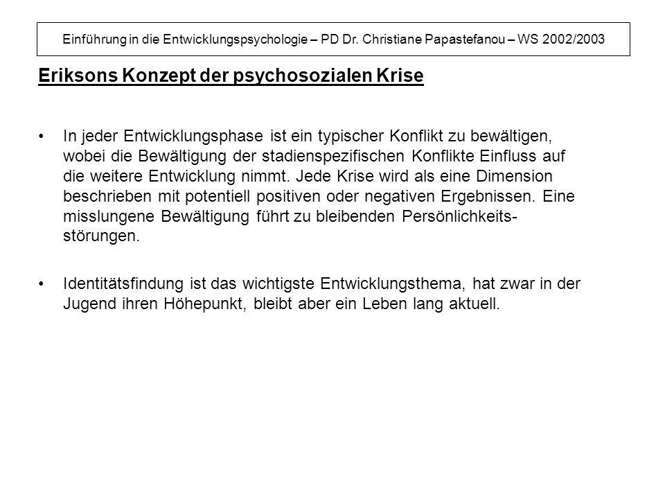 Einführung in die Entwicklungspsychologie – PD Dr. Christiane Papastefanou – WS 2002/2003 Eriksons Konzept der psychosozialen Krise In jeder Entwicklu