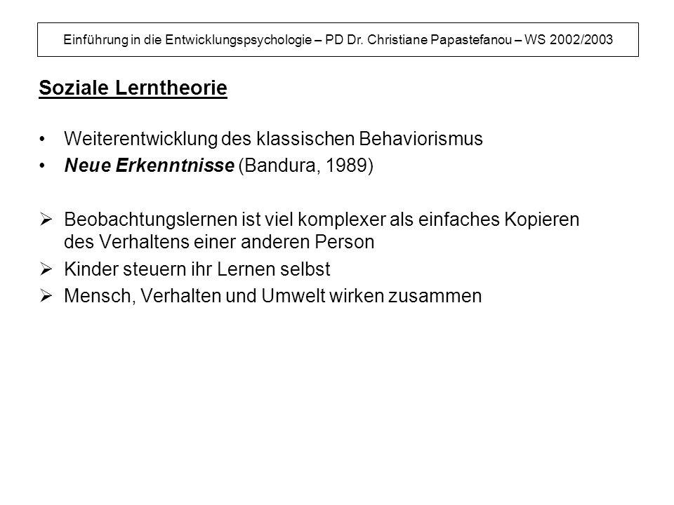 Einführung in die Entwicklungspsychologie – PD Dr. Christiane Papastefanou – WS 2002/2003 Soziale Lerntheorie Weiterentwicklung des klassischen Behavi