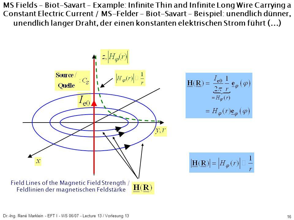 Dr.-Ing. René Marklein - EFT I - WS 06/07 - Lecture 13 / Vorlesung 13 16 Field Lines of the Magnetic Field Strength / Feldlinien der magnetischen Feld