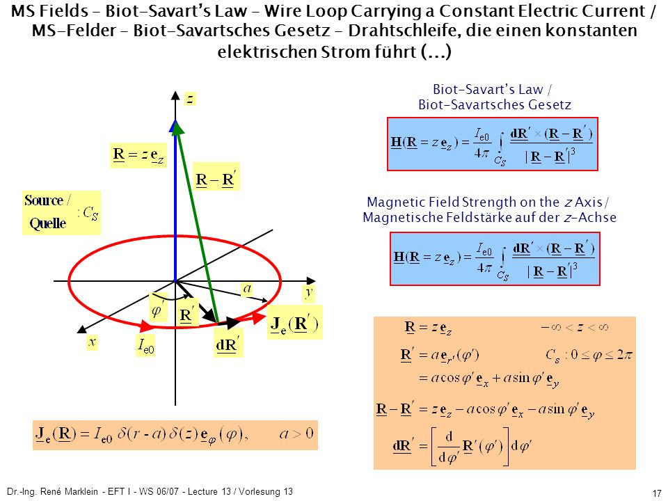Dr.-Ing. René Marklein - EFT I - WS 06/07 - Lecture 13 / Vorlesung 13 17 MS Fields – Biot-Savarts Law – Wire Loop Carrying a Constant Electric Current