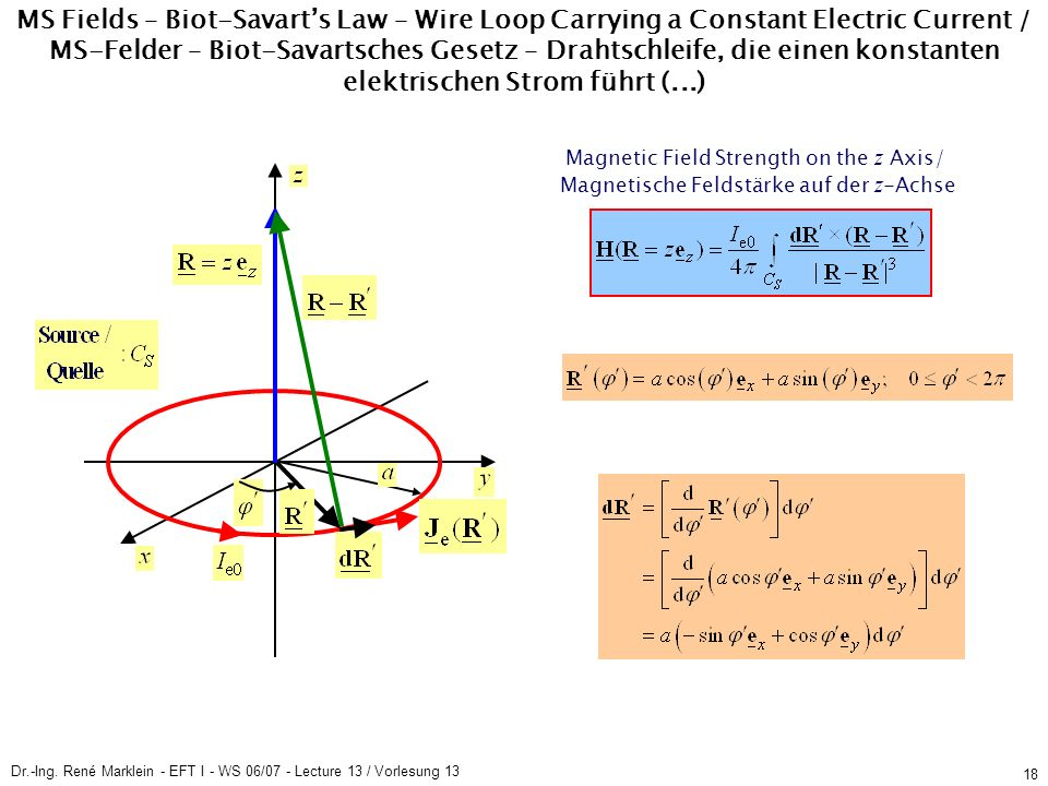 Dr.-Ing. René Marklein - EFT I - WS 06/07 - Lecture 13 / Vorlesung 13 18 MS Fields – Biot-Savarts Law – Wire Loop Carrying a Constant Electric Current