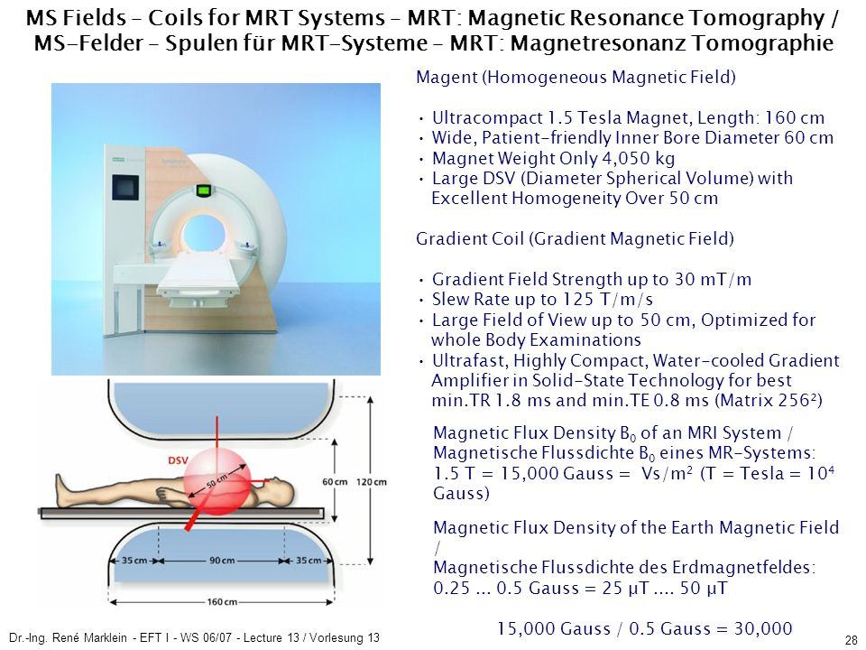 Dr.-Ing. René Marklein - EFT I - WS 06/07 - Lecture 13 / Vorlesung 13 28 MS Fields – Coils for MRT Systems – MRT: Magnetic Resonance Tomography / MS-F