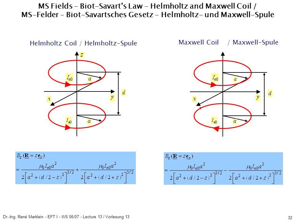 Dr.-Ing. René Marklein - EFT I - WS 06/07 - Lecture 13 / Vorlesung 13 32 MS Fields – Biot-Savarts Law – Helmholtz and Maxwell Coil / MS-Felder – Biot-