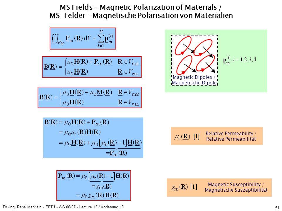 Dr.-Ing. René Marklein - EFT I - WS 06/07 - Lecture 13 / Vorlesung 13 51 MS Fields – Magnetic Polarization of Materials / MS-Felder – Magnetische Pola