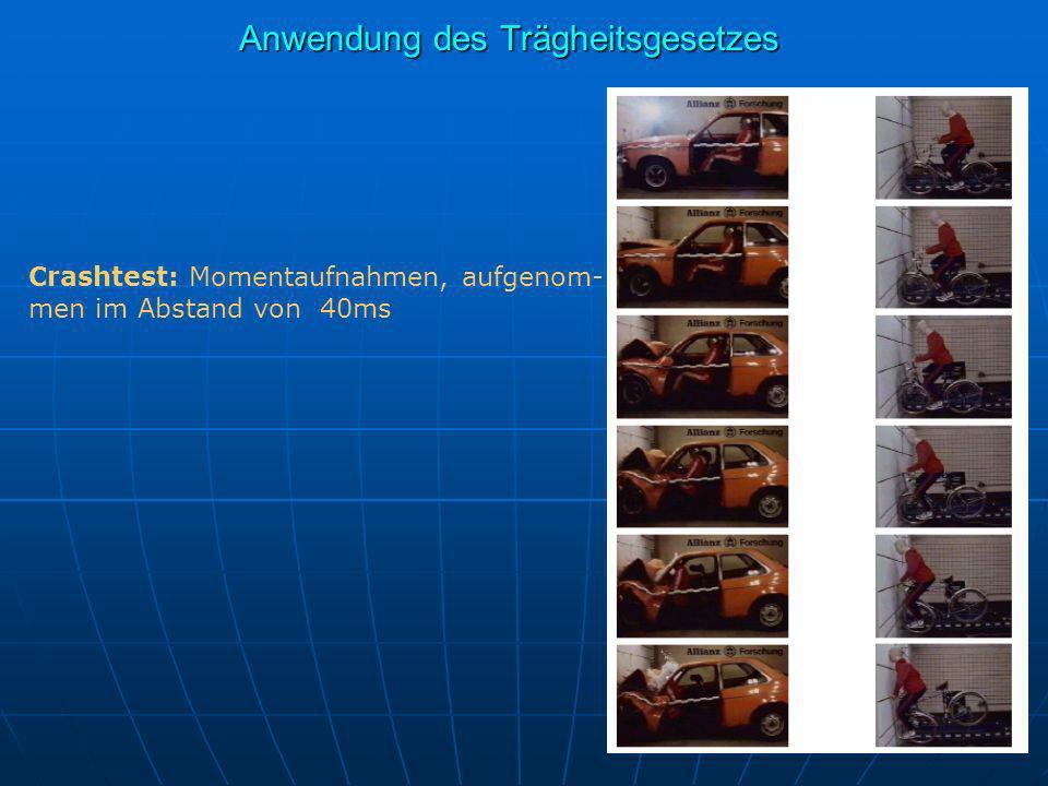 Crashtest: Momentaufnahmen, aufgenom- men im Abstand von 40ms