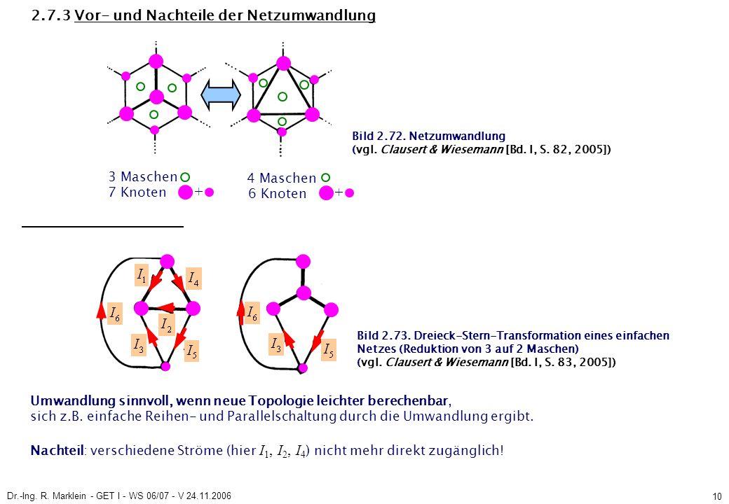 Dr.-Ing. R. Marklein - GET I - WS 06/07 - V 24.11.2006 10 2.7.3 Vor- und Nachteile der Netzumwandlung 3 Maschen 7 Knoten Umwandlung sinnvoll, wenn neu