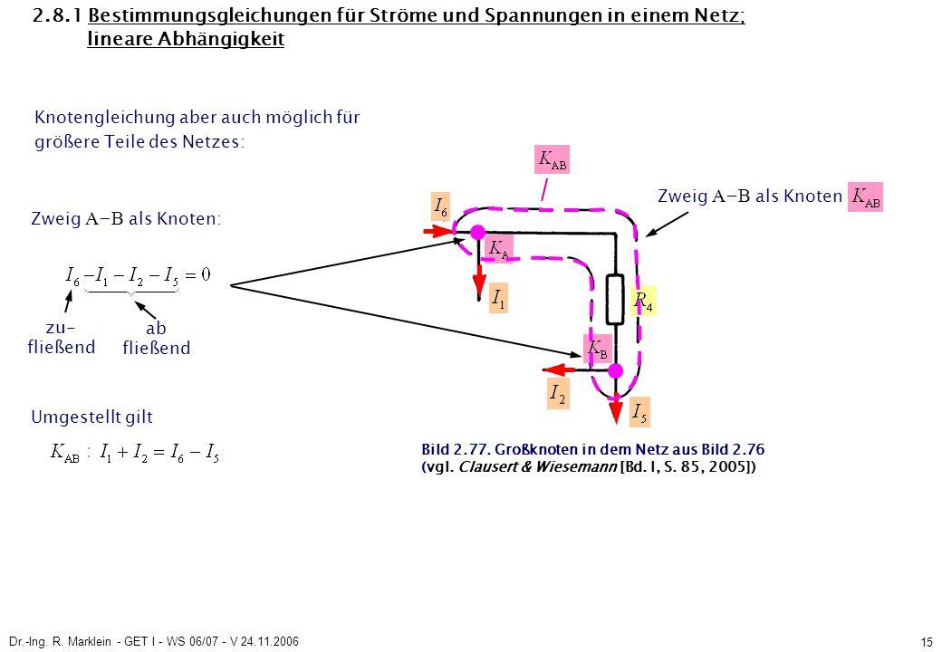 Dr.-Ing. R. Marklein - GET I - WS 06/07 - V 24.11.2006 15 2.8.1 Bestimmungsgleichungen für Ströme und Spannungen in einem Netz; lineare Abhängigkeit K