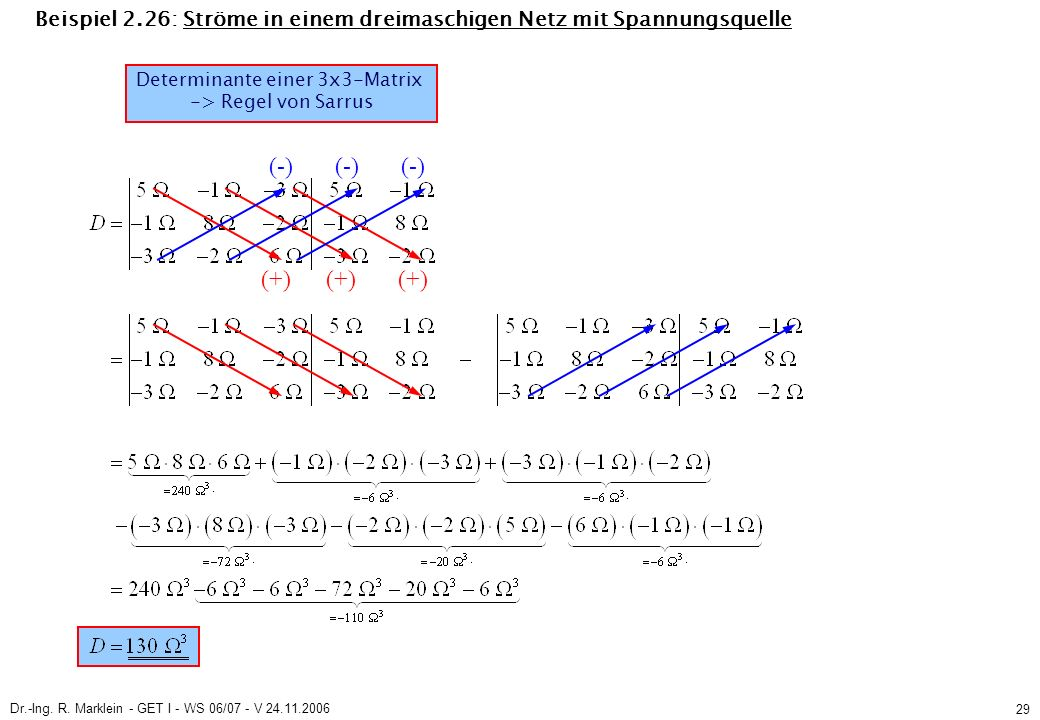 Dr.-Ing. R. Marklein - GET I - WS 06/07 - V 24.11.2006 29 Beispiel 2.26: Ströme in einem dreimaschigen Netz mit Spannungsquelle Determinante einer 3x3