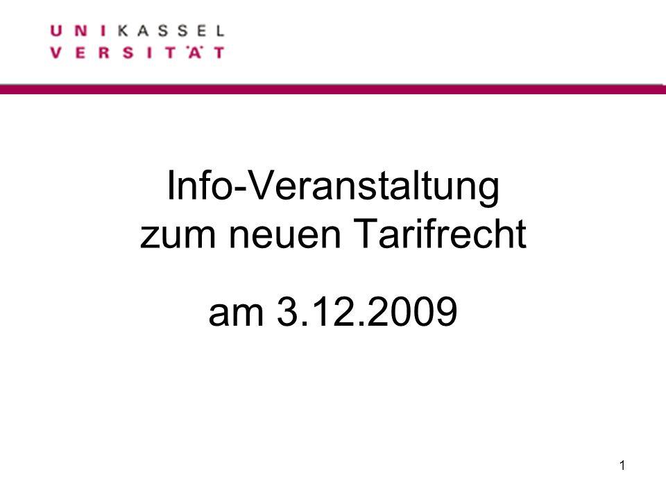 1 Info-Veranstaltung zum neuen Tarifrecht am 3.12.2009