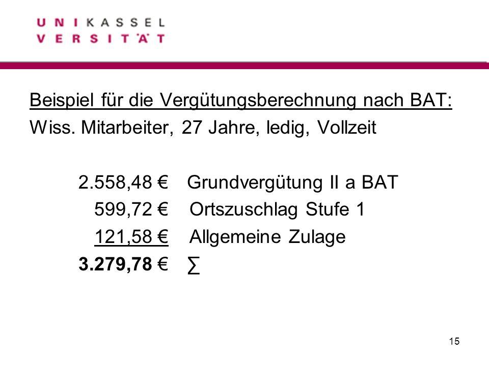 15 Beispiel für die Vergütungsberechnung nach BAT: Wiss. Mitarbeiter, 27 Jahre, ledig, Vollzeit 2.558,48 Grundvergütung II a BAT 599,72 Ortszuschlag S