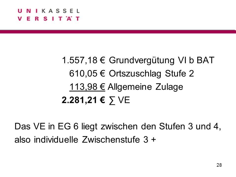 28 1.557,18 Grundvergütung VI b BAT 610,05 Ortszuschlag Stufe 2 113,98 Allgemeine Zulage 2.281,21 VE Das VE in EG 6 liegt zwischen den Stufen 3 und 4,