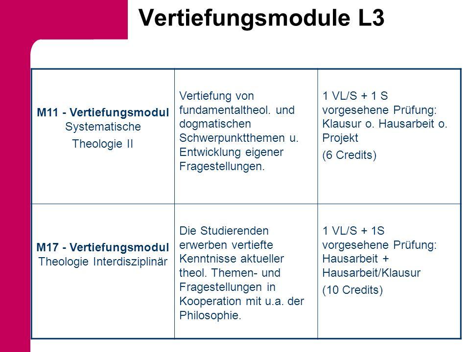 Vertiefungsmodule L3 M11 - Vertiefungsmodul Systematische Theologie II Vertiefung von fundamentaltheol. und dogmatischen Schwerpunktthemen u. Entwickl