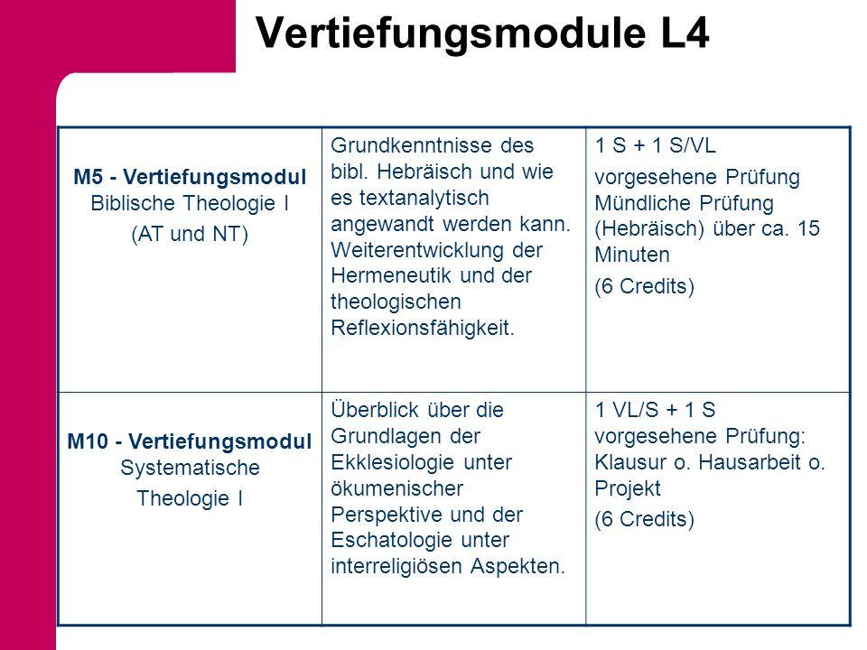 Vertiefungsmodule L4 M5 - Vertiefungsmodul Biblische Theologie I (AT und NT) Grundkenntnisse des bibl. Hebräisch und wie es textanalytisch angewandt w