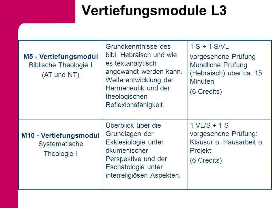 Vertiefungsmodule L3 M5 - Vertiefungsmodul Biblische Theologie I (AT und NT) Grundkenntnisse des bibl. Hebräisch und wie es textanalytisch angewandt w