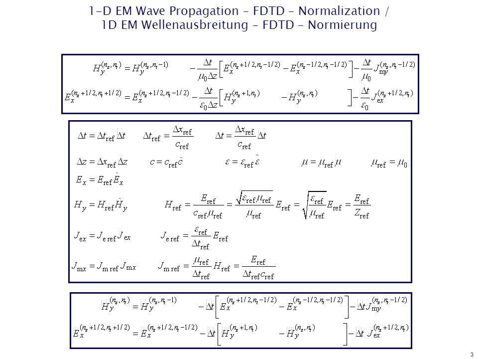 3 1-D EM Wave Propagation – FDTD – Normalization / 1D EM Wellenausbreitung – FDTD – Normierung