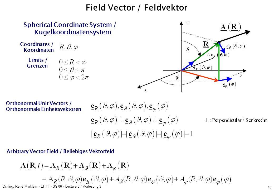Dr.-Ing. René Marklein - EFT I - SS 06 - Lecture 3 / Vorlesung 3 10 Field Vector / Feldvektor Spherical Coordinate System / Kugelkoordinatensystem Ort