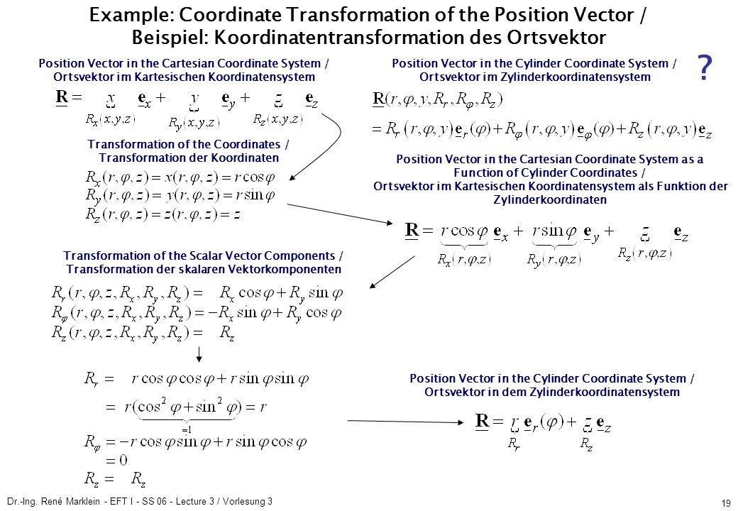 Dr.-Ing. René Marklein - EFT I - SS 06 - Lecture 3 / Vorlesung 3 19 Example: Coordinate Transformation of the Position Vector / Beispiel: Koordinatent