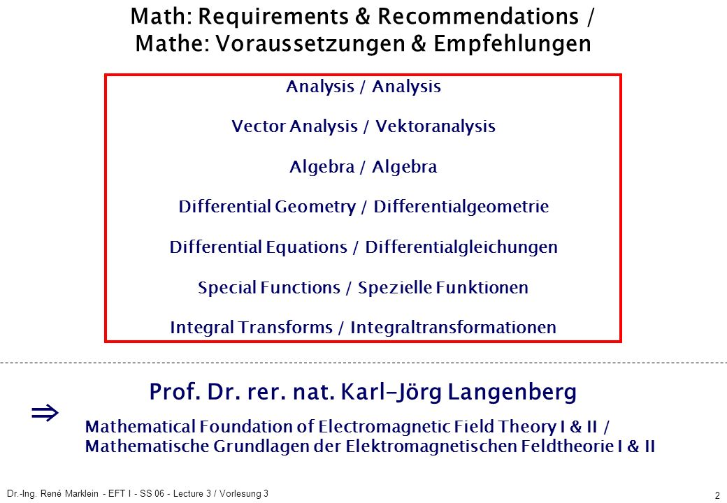 Dr.-Ing. René Marklein - EFT I - SS 06 - Lecture 3 / Vorlesung 3 2 Math: Requirements & Recommendations / Mathe: Voraussetzungen & Empfehlungen Analys