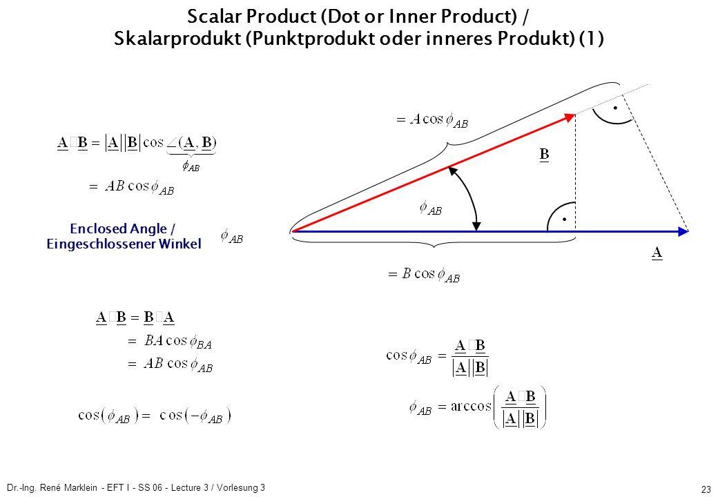 Dr.-Ing. René Marklein - EFT I - SS 06 - Lecture 3 / Vorlesung 3 23 Scalar Product (Dot or Inner Product) / Skalarprodukt (Punktprodukt oder inneres P