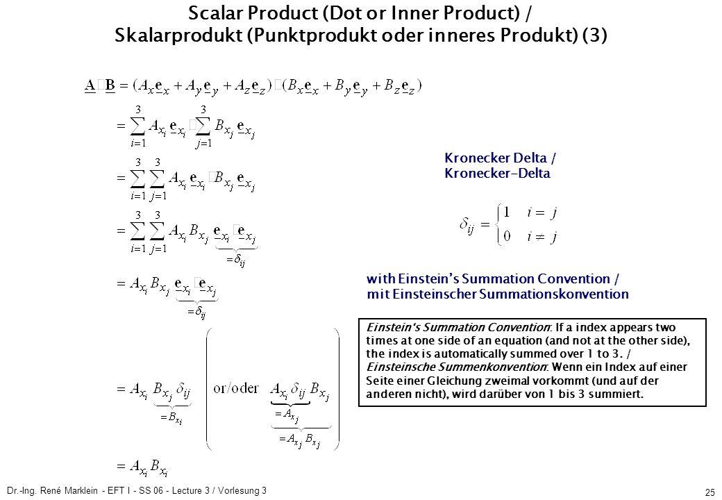 Dr.-Ing. René Marklein - EFT I - SS 06 - Lecture 3 / Vorlesung 3 25 Scalar Product (Dot or Inner Product) / Skalarprodukt (Punktprodukt oder inneres P