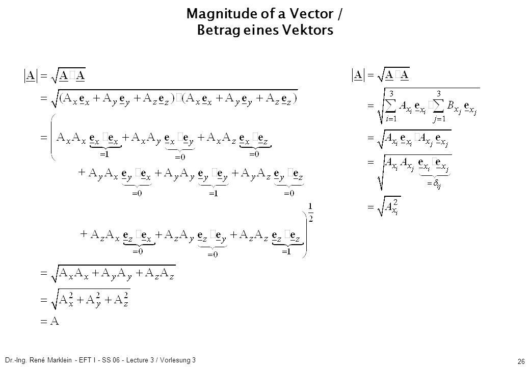 Dr.-Ing. René Marklein - EFT I - SS 06 - Lecture 3 / Vorlesung 3 26 Magnitude of a Vector / Betrag eines Vektors